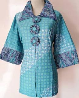 Contoh Kemeja Batik Wanita Kombinasi Lengan Panjang
