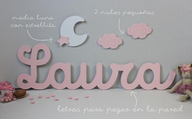 letras y siluetas  para decoración habitación infantil
