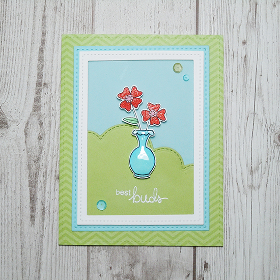 Best Buds flower vase card by Ka Slagoski | Versatile Vases Stamp set by Newton's Nook Designs #newtonsnook