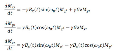 The Bloch equations in a rotating coordinate system, describing the magnetization during slice selection in magnetic resonance imaging.