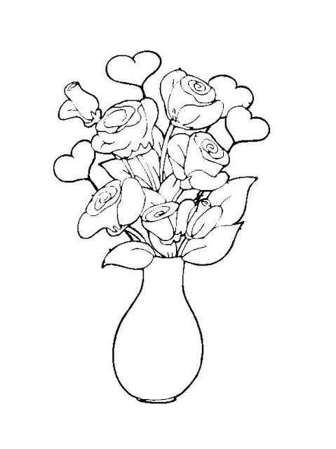 jarron de flores para pintar