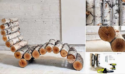 Sillón hecho con troncos