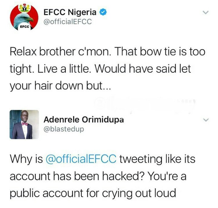 10 Times EFCC Twitter Handle Gave Epic Replies (pics)