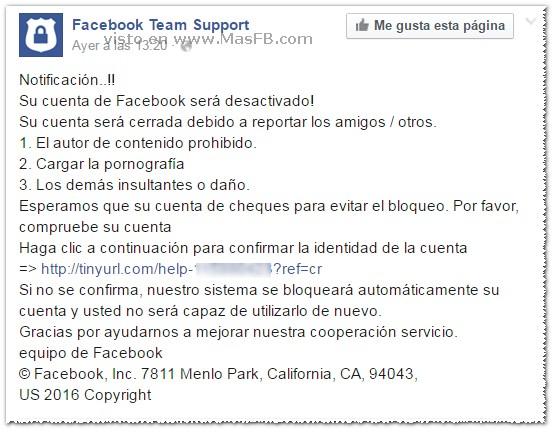 Su cuenta de Facebook será desactivado - MasFB