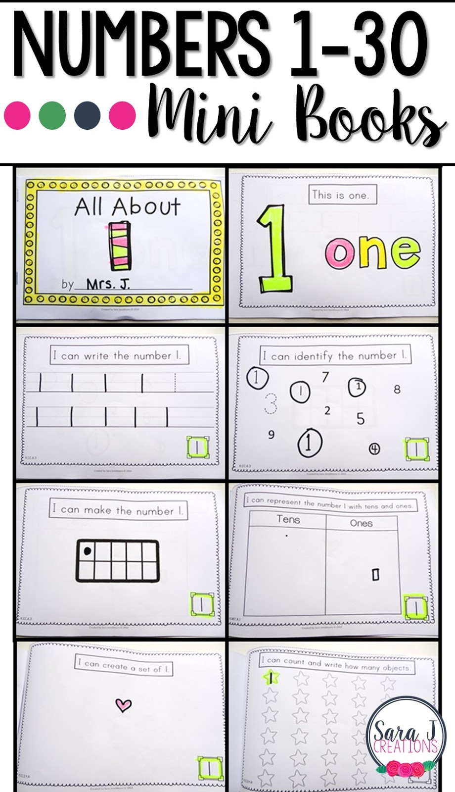 Number books are a great way to practice writing, identifying, counting, drawing, using tens frames and tens and ones to represent numbers 1-30.
