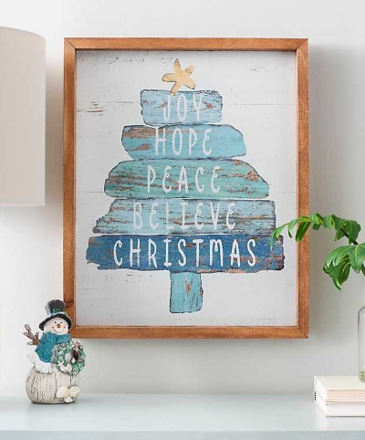 Coastal Beach Christmas Tree Wood Wall Art Sign