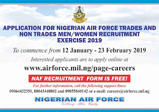 Nigerian Airforce Recruitment Form Guidelines 2019/2020 [Airmen/Airwomen]