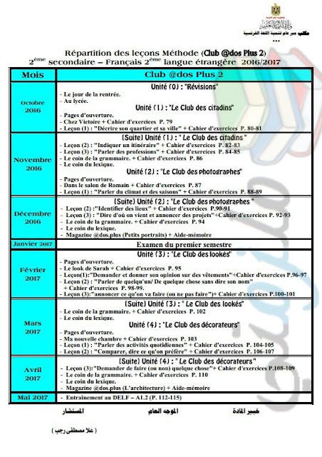 توزيع منهج اللغة الفرنسية للصف الثاني الثانوي 2017