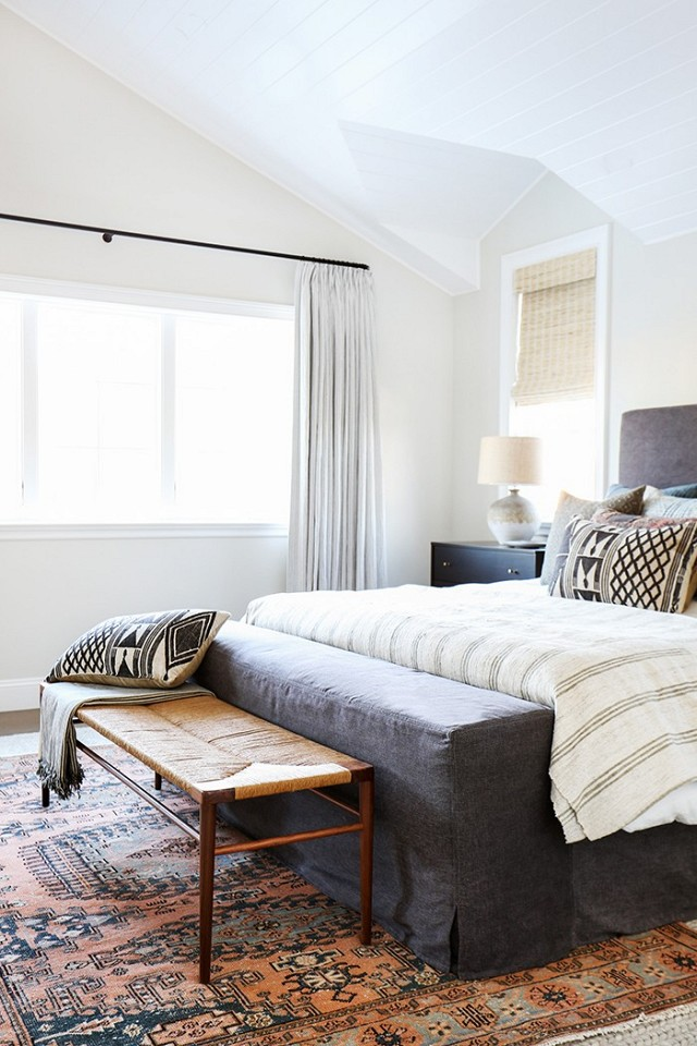 Grey and cream bedroom with earthy touches