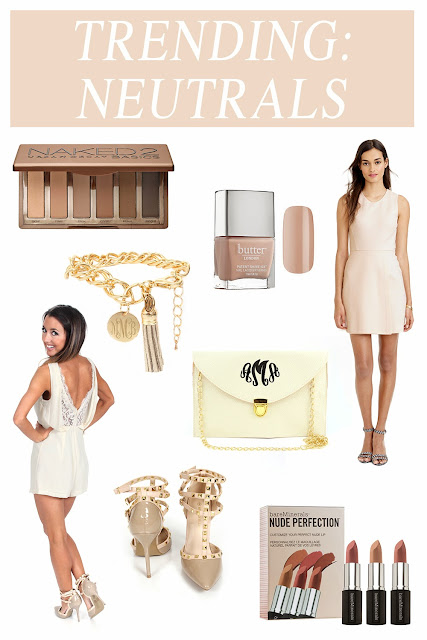 White Background Collage of Various Beige Fashion + Beauty Items