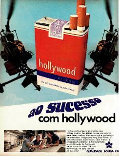 propaganda cigarros Hollywood - 1974, souza cruz anos 70, cigarros década de 70, Oswaldo Hernandez,
