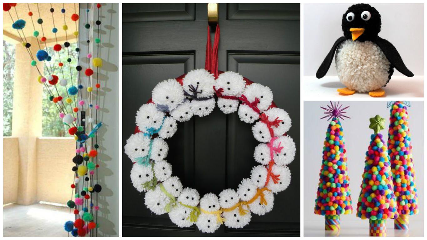 7 manualidades con pompones para hacer en casa - Manualidades navidenas paso a paso ...