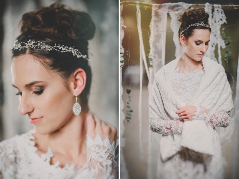 Biżuteryjny wianek ślubny w stylu boho chic.