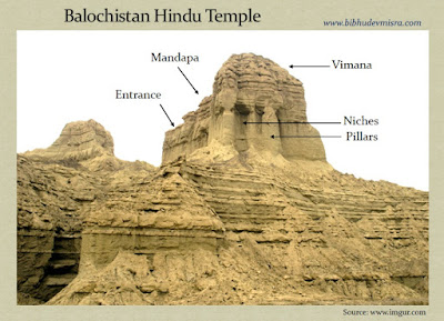 An ancient Indian Temple on the Makran coastline with Vimana, Mandapa, pillars and niches.