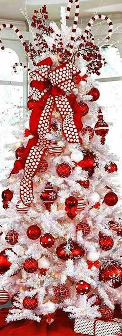 White Christmas Tree Red Ribbon and Ornaments