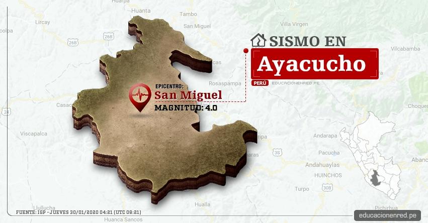 Temblor en Ayacucho de Magnitud 4.0 (Hoy Jueves 30 Enero 2020) Sismo - Epicentro - San Miguel - La Mar - IGP - www.igp.gob.pe