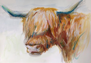horse in art exhibition, equine fine art, horse artist uk, equestrian art, highland cow painting