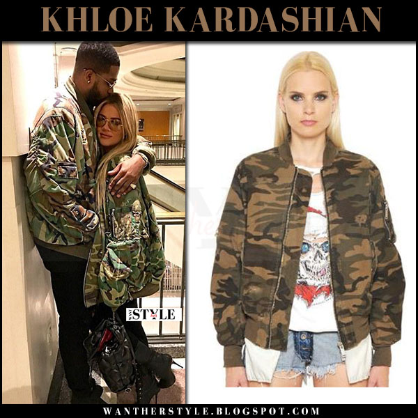 Khloe Kardashian in green camouflage print bomber jacket unravel what she wore