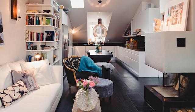 Pequeno apartamento decorado: o piso preto fez toda a diferença. Blog Achados de Decoração