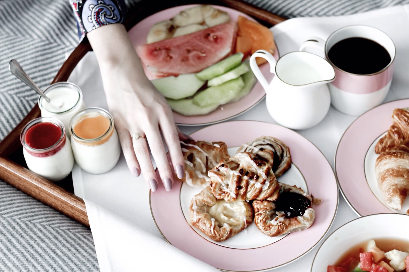 Pretty Pink Feminine Room Service Breakfast in the UK