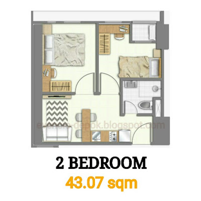 Tipe 2 bedroom evencio, Tipe 2 br evencio, Tipe 2 br apartemen, 2br evencio