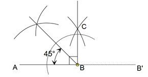 Menggambarkan sudut lancip dengan besar 45°