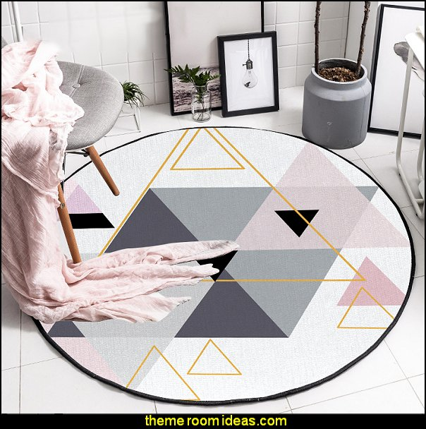 Scandinavian Round Triangles Pink Grey Decorative Carpet