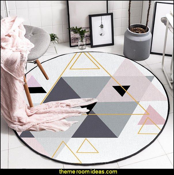 Scandinavian Round Triangles Pink Grey Decorative Carpet