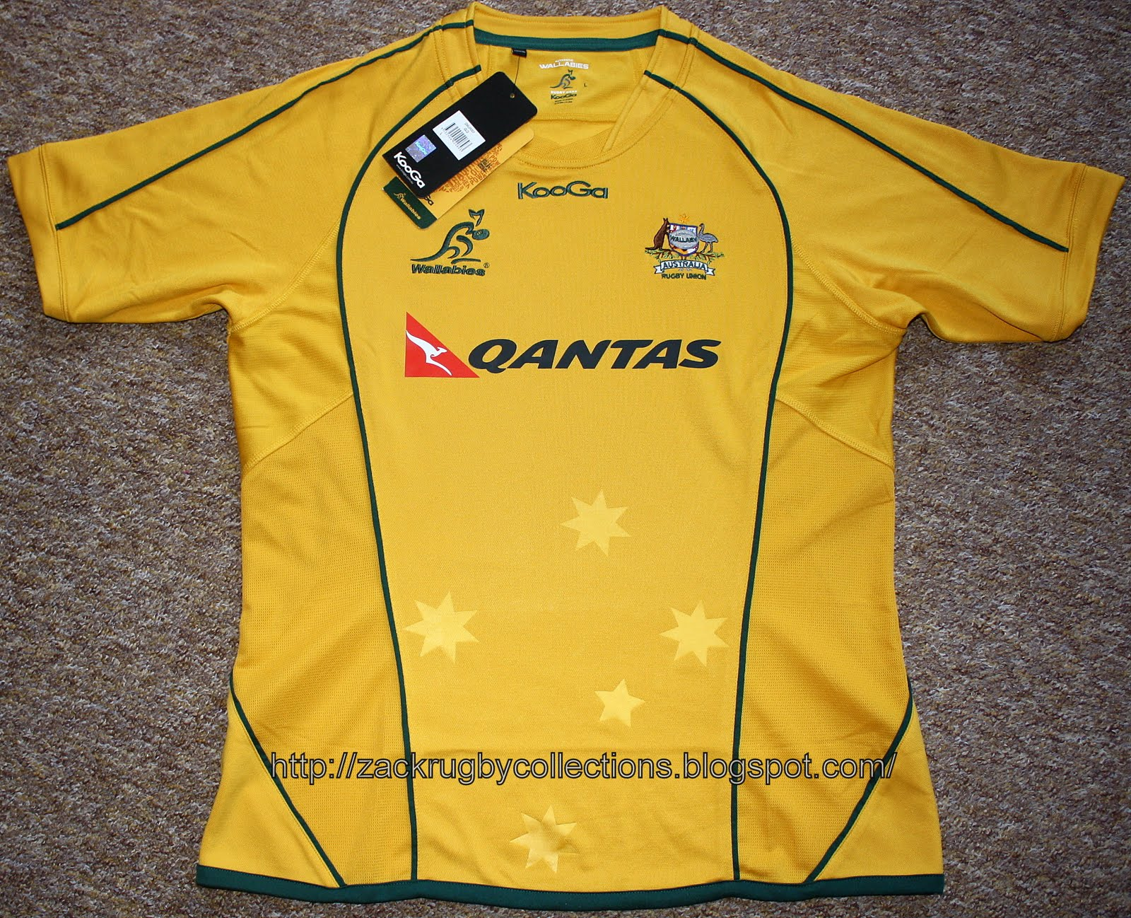 03719257d8b Australia Pro Home 2010/2012 Rugby Jersey made by KooGa. Official Australia  Wallabies Product released for 2010/2012 rugby season.