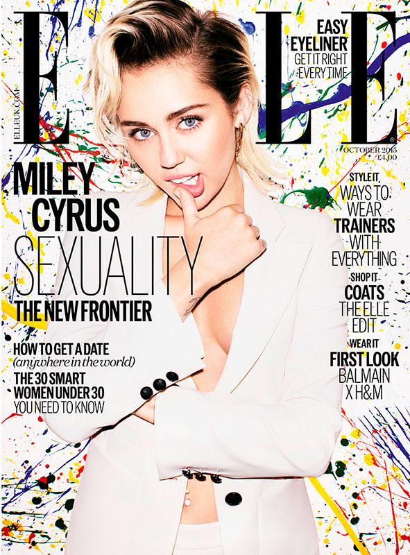 Miley Cyrus in Armani for Elle UK