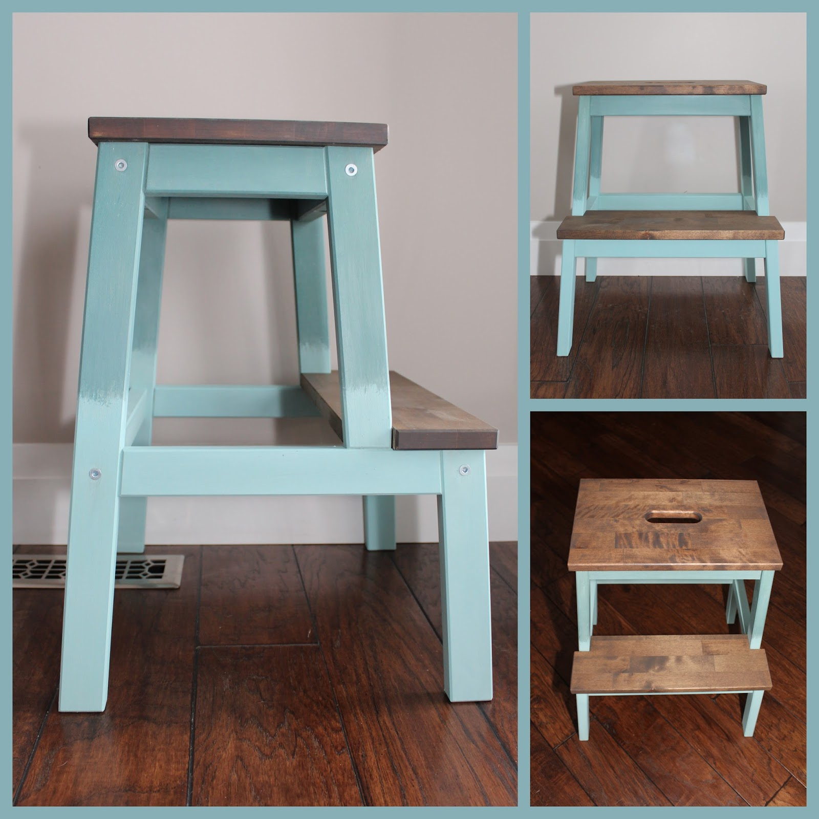 IKEA step stool relove with milk paint & stain