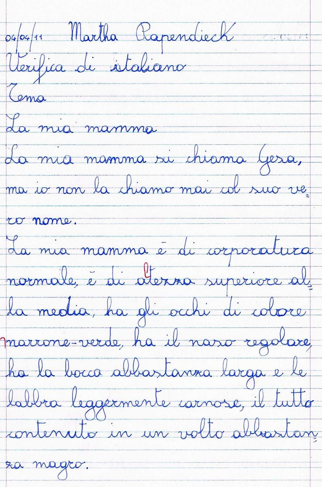 Verifica di italiano per la classe terza  La descrizione della persona  Tema La mia mamma