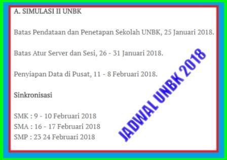 gambar jadwal unbk 2018