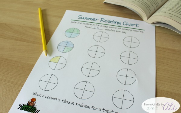 Reaching chart to keep track of minutes read during summer
