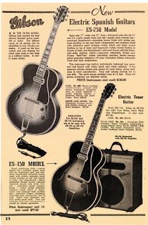 Οι κιθάρες ES 150 και ES 250 της Gibson,  από τον κατάλογό της του 1939
