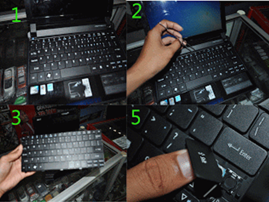 Cara Bongkar Keyboard Netbook