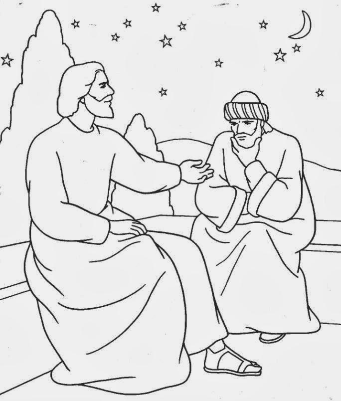 El Renuevo De Jehova Jesus y Nicodemo  Imagenes para colorear