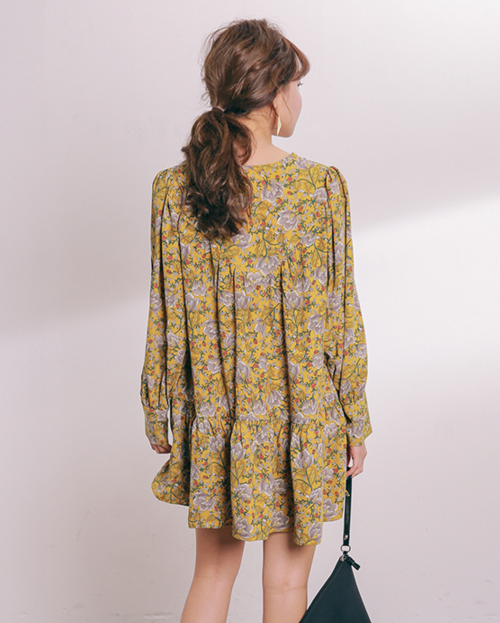 Frilled Floral Mini Dress