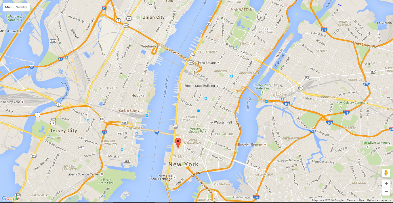 marker position tribeca map map title my marker now if we run our html file on our browser we see our newly placed marker