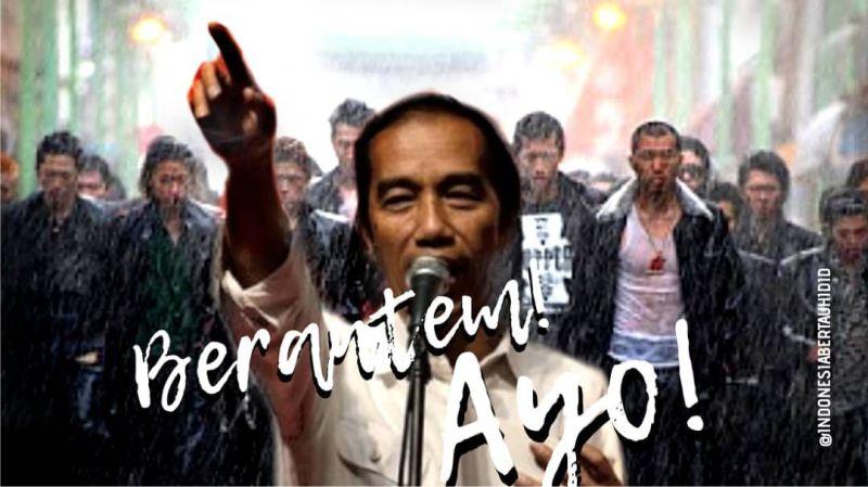 Jokowi Berharap Pendukungnya Layani Ajakan Berantem, Netizen: Presiden Atau Kepala Geng?