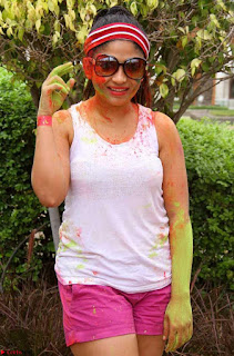 Madhulagna Das Playing Holi Celebrations in white Tank Top 16.jpg