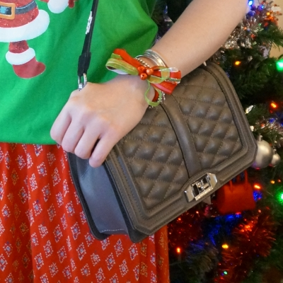 Christmas bow bracelet, Rebecca Minkoff Love cross body bag in grey | away from the blue