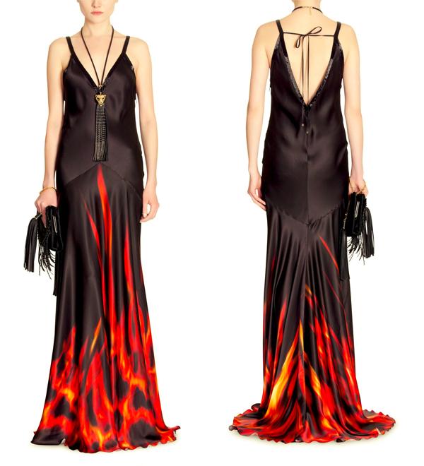 print dress, long silk dress, silk dress, black red dress, dress with flames, flame pattern, roberto cavalli dress, winter dress, autumn dress
