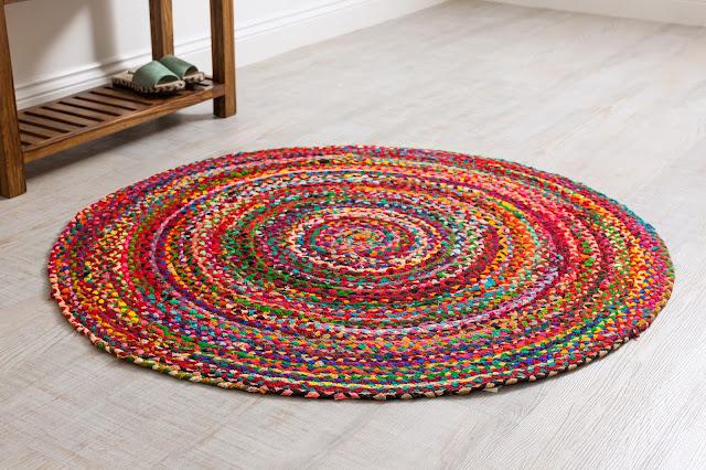 Rainbow Braided Round Rugs