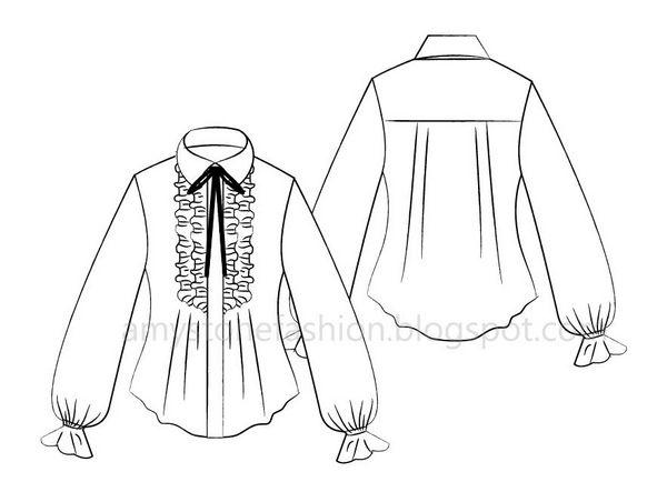 Amy Stone Fashion Flat Sketches: Ruffle Front Shirt Flat Fashion ...