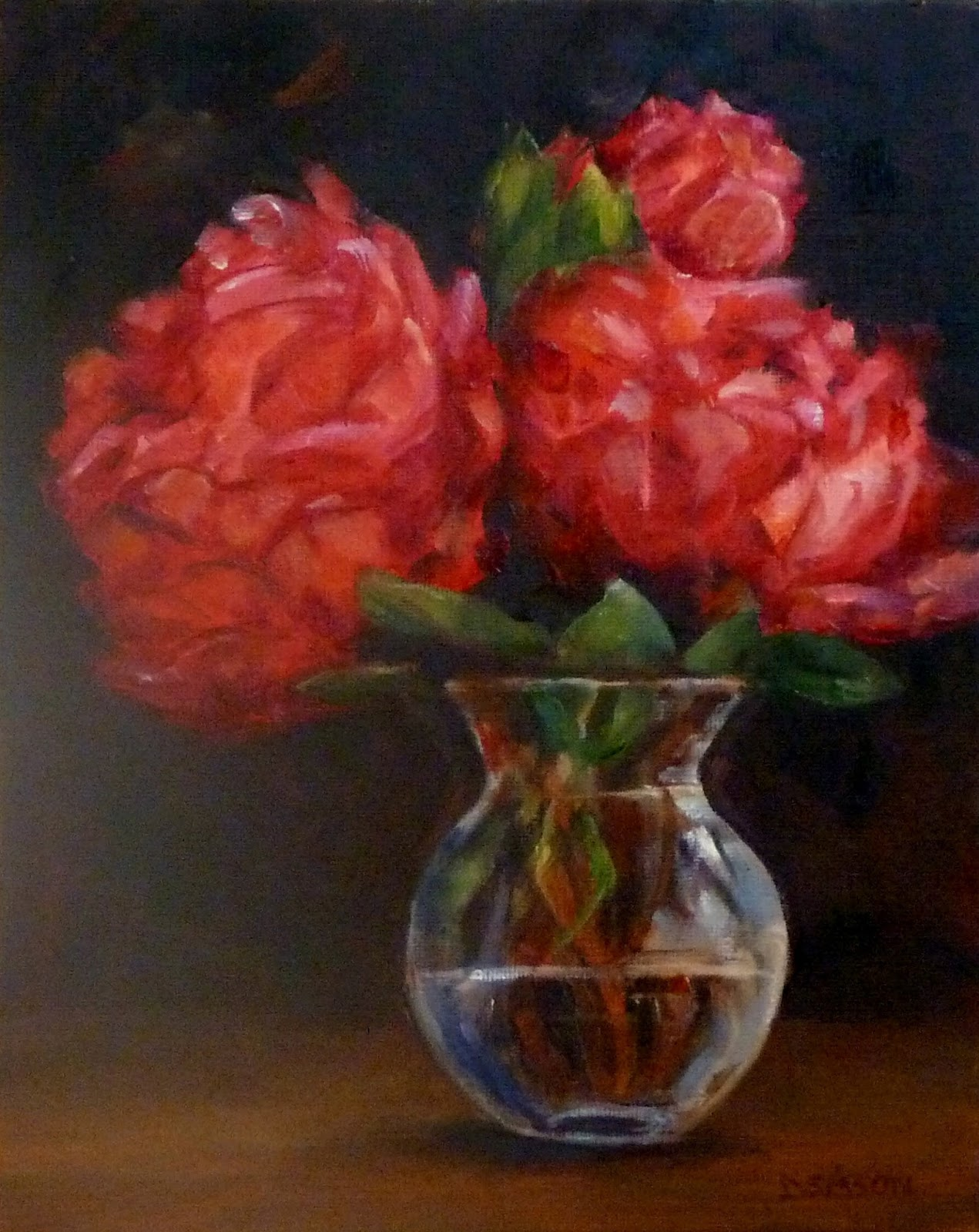 Daily painting projects peonies in bud vase still life painting peonies in bud vase reviewsmspy