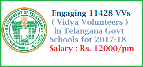 GO Rt 82 Recruitment of 11428 Vidya Volunteers in Telangana Govt Schools for 2017-18 year  School Education – Engaging the services of (11428) Vidya Volunteers through School Management Committees (SMCs) with an Honorarium of Rs.12,000/- (Rupees Twelve Thousand only) per month in the Academic Year, 2017-18 - Permission Accorded – Orders – Issued.