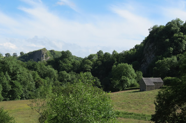 Across pasture, the pointed crag that holds Thor's Cave stands out above trees to the left.