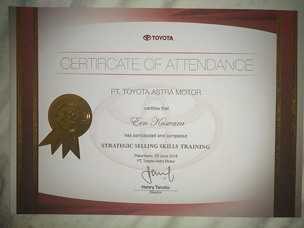 Certificate Of Attendance dari PT Toyota Astra Motor
