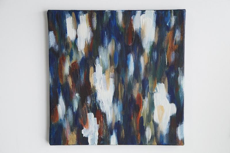 Abstrakte Acrylmalerei in dunkelblau, weiß, braun. Originale Kunst günstig online kaufen. Tasteboykott